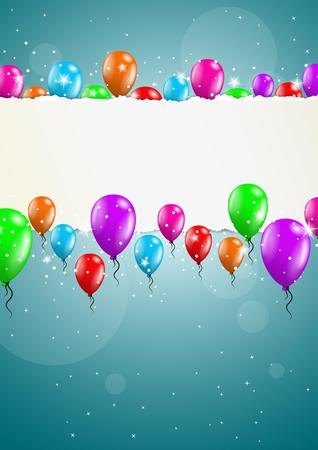felicitate: many flying balloons with empty torn paper ready for your text on blue background Illustration