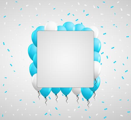 balloon background: blue balloons and color confetti with blank square paper in center Illustration