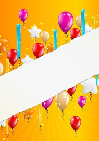 felicitate: many flying balloons with empty torn paper ready for your text on yellow background