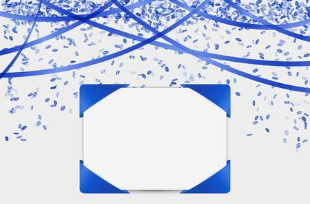 blank card with falling confetti and ribbons