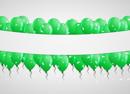 green balloons in center with falling white confetti and gray background