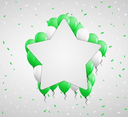 green balloons: blank star badge and green balloons and confetti