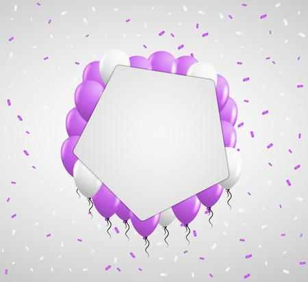 surprise party: violet balloons and white confetti with blank pentagon paper in center