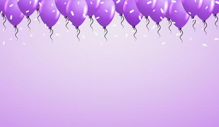 confetti: balloons on the top with falling confetti and purple background