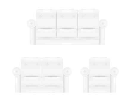 white sofa: white sofa furniture in three variants on white background,  isolated