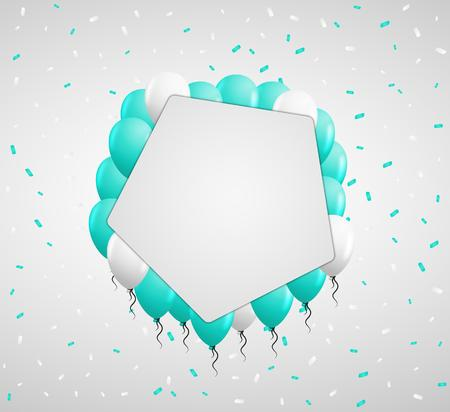 green balloons: blank pentagon badge and green balloons and confetti Illustration
