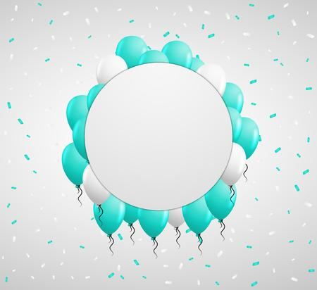 green balloons: blank circle badge and green balloons and confetti Illustration