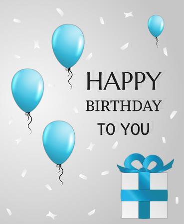 niños con pancarta: tarjeta de cumpleaños con globos, confeti que cae y el presente