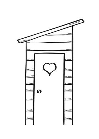 latrine: sketch of the old wooden latrine, isolated