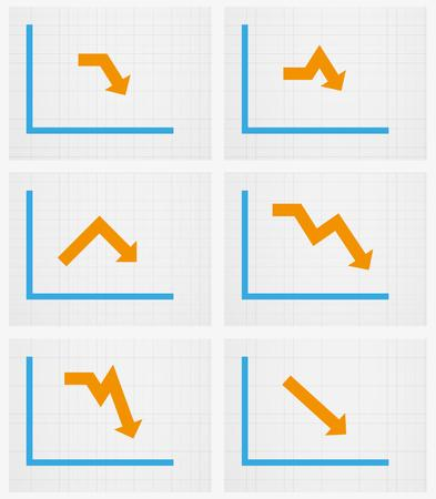 company board: six different charts with arrow on graph paper