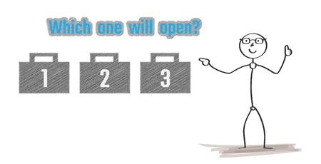 choosing: man with three briefcases and choosing one as a symbol of opportunity on white background Illustration