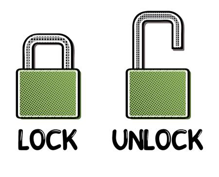 closed lock: open and closed lock in comic retro style