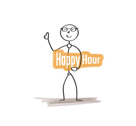 soiree: man with text Happy hour on white background Illustration