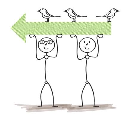 green arrow: two men holding green arrow with birds on white background