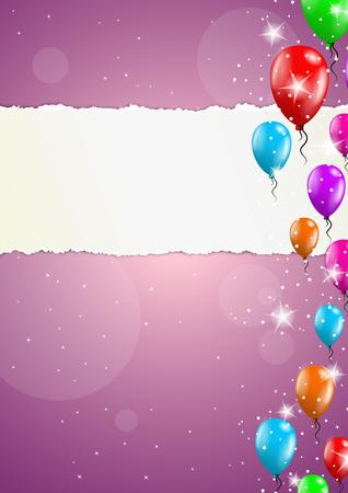backgroud: color backgroud with balloons and blank torn paper