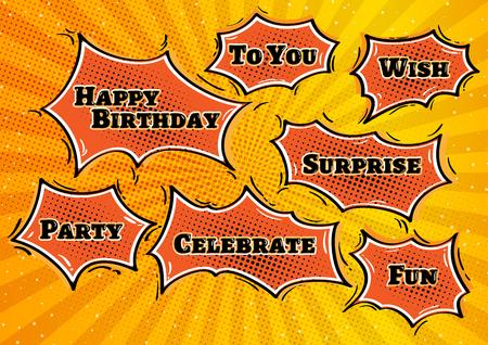 book background: happy birthday illustration with birthdays bubbles in retro comic style