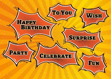fond de texte: heureux illustration d'anniversaire avec les anniversaires bulles dans un style comique rétro