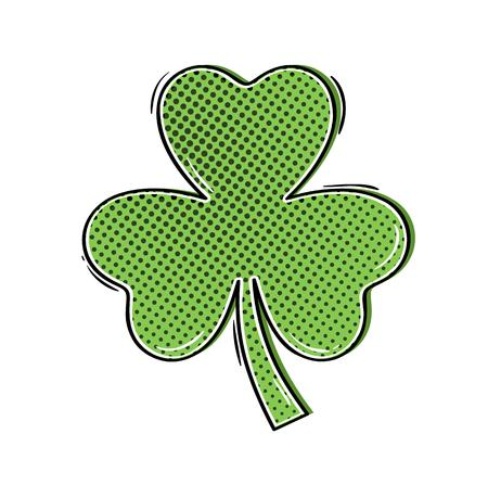 patrics: green clover shamrock in comic style as a symbol of st. Patrics day and luck Illustration