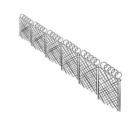 prison guard: sketch of the barbed fence on white background, isolated Illustration