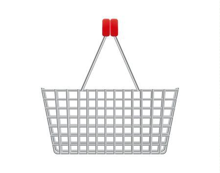 handles: metal supermarket basket with red plastic handles