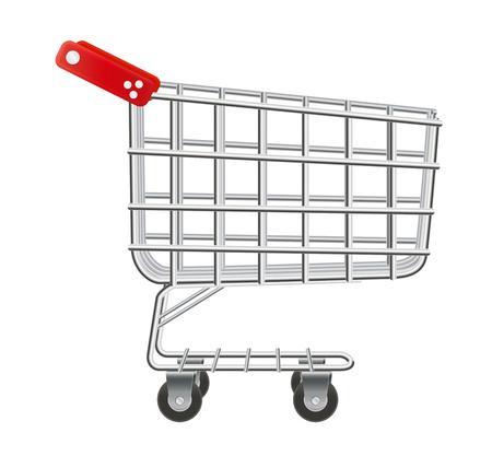 supermarket cart: empty supermarket cart with red plastic handles Illustration