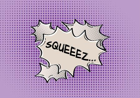 jammed: SQUEEZ comic speak bubble on violet dotted background