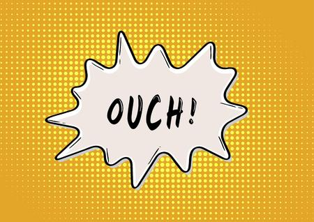 ouch: OUCH bubble in retro comic style on yellow background
