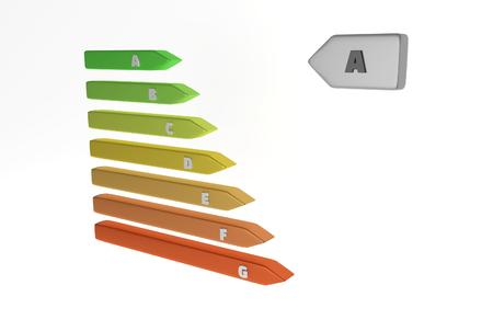 electrical appliance: Energy labels with color classes on white background. Significant for power consumption of  electrical appliance. 3D illustration