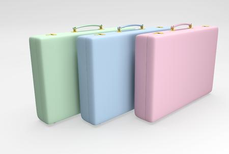belongings: Color suitcases with straps suitable for traveling and with personal belongings. 3D illustration