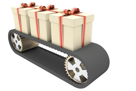 conveyer: Black conveyer belt and three gifts as a symbol of manufacturing and mass production in christmas time. 3D illustration Stock Photo