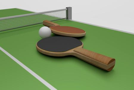 tabletennis: two   rackets, ball and table, 3D Rendering