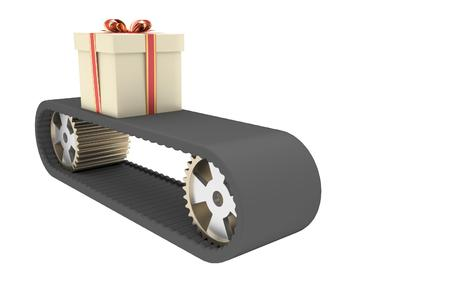 conveyer: Black conveyer belt and gift as a symbol of manufacturing in christmas time. 3D illustration