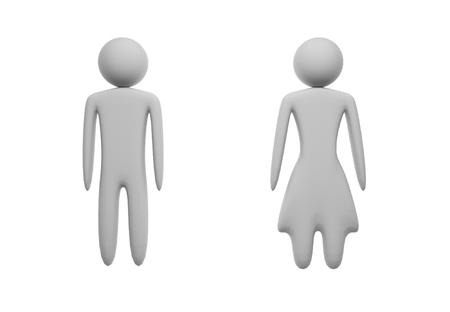 White male and female figures on white background. Isolated. 3D illustration.