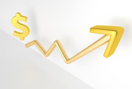 increasing: increasing graph with dollar symbol, 3D Rendering