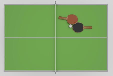 tabletennis: two rackets, ball and table, 3D Rendering Stock Photo