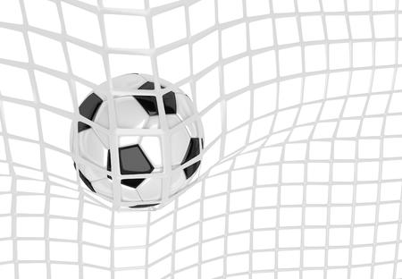scoring: Soccer ball in white net. Goal action as a symbol of competition and scoring. 3D illustration
