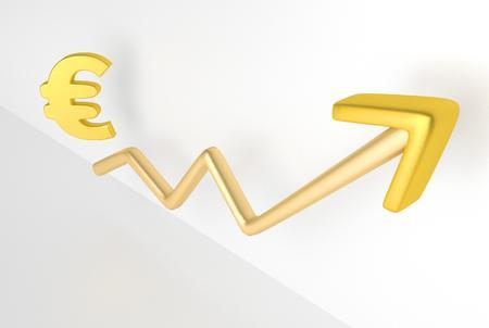 increasing: increasing graph with euro symbol, 3D Rendering