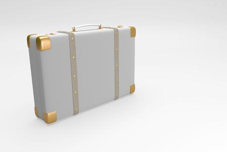 belongings: Gray suitcase with straps suitable for traveling and with personal belongings. 3D illustration Stock Photo