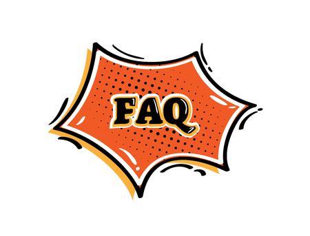 buble: FAQ buble in retro comic style on white background