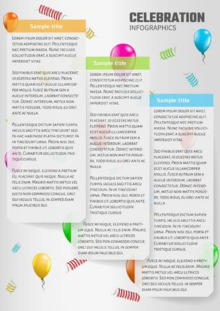 sample text: celebration infographics with balloons and sample text
