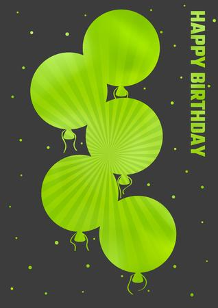 ballons: dark happy birthday illustration with color ballons Illustration
