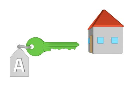 home value: Green key and silver trinket with silver ring for locking lock and keep your private in safe. Trinket tag with energetic value of house and home icon. 3D illustration