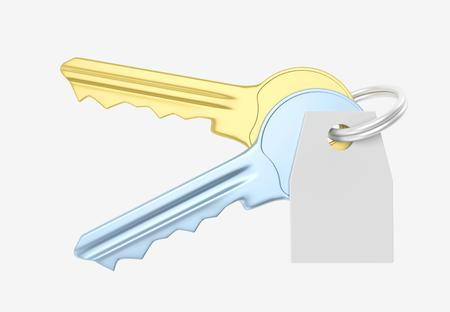 trinket: Gold and blue key and white trinket with silver ring for locking lock and keep your private in safe. 3D illustration