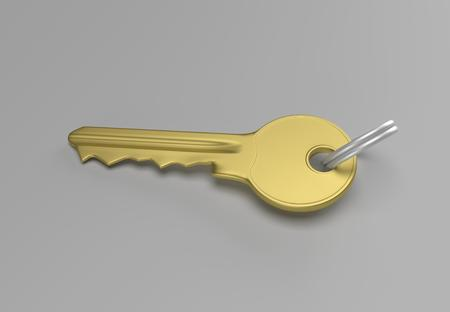 keep in: Gold key with silver ring for locking lock and keep your private in safe. 3D illustration Stock Photo