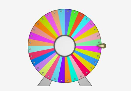 wheel of fortune: Colorful wheel of fortune as a symbol of gambling or lucky. 3D illustration. 3D illustration. Stock Photo