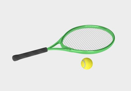 leisure activity: Green tennis racket and yellow ball. Sport item for leisure activity. 3D illustration Stock Photo