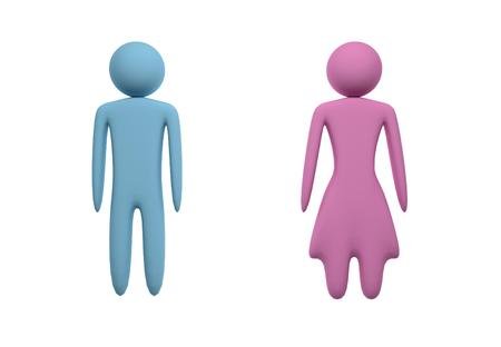 latrine: Blue male and pink female figures on white background. Isolated. 3D illustration.
