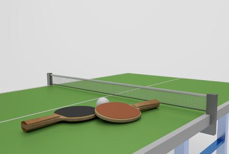 tabletennis: two table tennis rackets ball and table