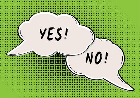 yes or no: YES and NO speak bubble in retro comic style Illustration