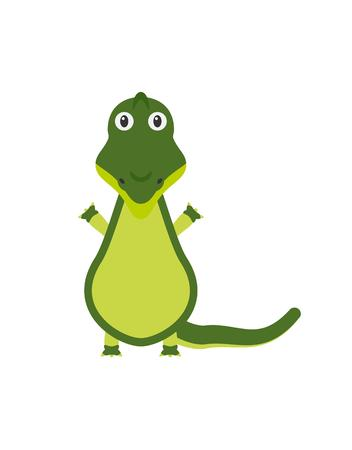 aquatic reptile: Crocodile illustration as a funny character. Wild and dangerous aquatic reptile with long tail. Small cartoon creature, isolated object in flat design on white background. Illustration